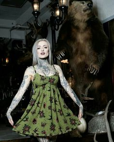 This Hearts and Roses Dolly Dress is really to die for! it makes the perfect background for the beautiful, traditional tattoo-style roses and hearts, created exclusively for Sourpuss by tattoo artist Louis M Hot Tattoo Girls, Tattoed Girls, Inked Girls, Sexy Tattoos, Girl Tattoos, Tatoos, Top Tattoos, Tribal Tattoos, Compass Tattoo