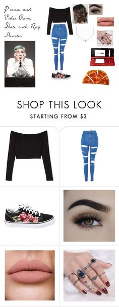 """Pizza and Video Game Date with Rap Monster"" by spicy-noodle ❤ liked on Polyvore featuring Topshop, Vans, Minnie Grace, Nintendo, kpop, bts, rapmonster, kimnamjoon and Namjoon"