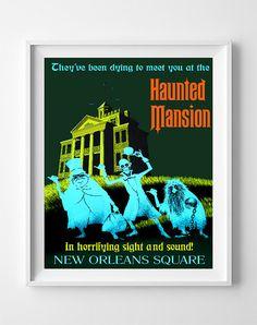 Disneyland Vintage, Disney Poster, Disneyland Print, Haunted Mansion, Disney, Fantasyland, Halloween, Gift idea, Christmas Gift