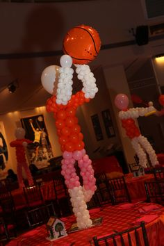 Custom created balloon centerpieces depicted the Bat Mitzvah girl's favorite summer camp activities Sports Centerpieces, Balloon Centerpieces, Balloon Decorations, Basketball Decorations, Balloon Ideas, Decoration Party, Basketball Birthday Parties, Balloon Columns, Sports Party