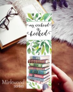 My Weekend is Booked Watercolor Book Stack and Plants Bookmark, Book Lover Gift, Botanical Print Watercolor Books, Watercolor Bookmarks, Watercolor Cards, Watercolor Illustration, Simple Watercolor, Tattoo Watercolor, Watercolor Trees, Watercolor Animals, Watercolor Background