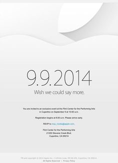 Apple announces special event for September 9th: 'Wish we could say more'