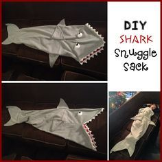 My son has been asking me to make him a shark snuggle sack.so I got crafty and created my own pattern. What you need: *approximately 1 yard of… Shark Tail Blanket, Snuggles, Yard, Crafty, Couture, Pattern, How To Make, Sleeping Bags, Sacks