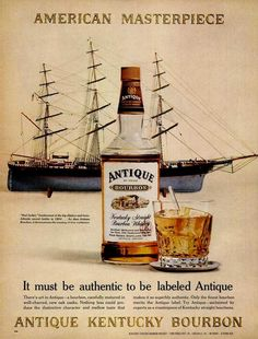 Antique Kentucky Bourbon and a schooner. classic bourbon advertisement from Bourbon Whiskey, Scotch Whisky, Print Ads, Print Advertising, Bourbon Brands, Oldest Whiskey, B Food, Schlitz Beer, Wine Cocktails