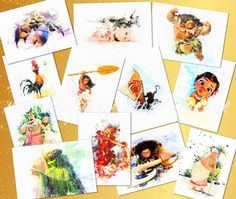Moana SET 12 watercolor prints Moana collection posters by TRONYC