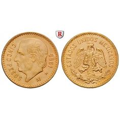 Mexiko, Vereinigte Staaten, 5 Pesos 1955, 3,75 g fein, bfr.: Vereinigte Staaten seit 1905. 5 Pesos 19 mm 3,75 g fein, 1955. Hidalgo,… #coins
