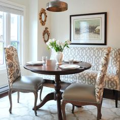 Idea for upholstered dining chairs to tie-in original table w/ new decor...two fabrics...perhaps darker or more stain resistent bottom w/ patterned back