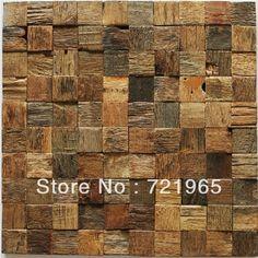 Natural wood mosaic tile rustic wood wall tiles NWMT002 kitchen backsplash wood panel 3D wood pattern tiles mosaic US $352.72 Ceramic Mosaic Tile, Stone Mosaic Tile, Wood Mosaic, Mosaic Glass, Wood Wall Tiles, Into The Woods, Rustic Wood Walls, Wood Patterns, Wood Paneling