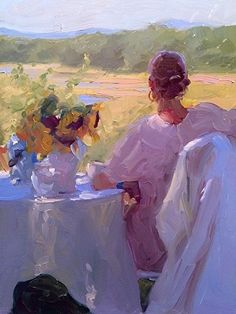 """Dennis Perrin - American (active) - Impressionist Still Life - """"Shelter From the Sun"""" - Oil - x Art And Illustration, Paintings I Love, Beautiful Paintings, Painting Inspiration, Art Inspo, Figurative Kunst, Portrait Art, Figure Painting, Art Pictures"""