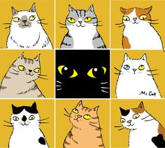 Cute cat illustrations by Ms. Cat 2 More