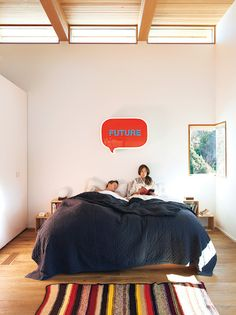 Red Speech bubble on top of the bed in your bedroom! :) Now that's a statement! Awesome idea.