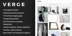 VERGE is modern and unique wordpress theme which allows you to present you work,, blog, work of your agency or your business. It has ability to allow you to create your own portfolio layouts the way you like it. You can use it for blogging with its 5 different blog layouts. You can also use it for multipurpose since it has nice custom made elements for visual composer. It is also equipped with modern menus like side, total or standard menu styles.