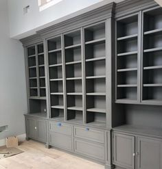 Custom Built-in Shelves & Cabinets. Cabinetry paint color is Benjamin Moore Graystone. Home Library Diy, Home Library Design, Home Libraries, Home Office Design, Home Office Decor, Library Cabinet, Library Shelves, Bookshelves Built In, Built Ins