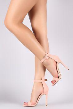 Liliana Nubuck Ankle Strap Open Toe Stiletto Heel