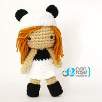 Panda Inspired Crochet Amigurumi Plush Doll by CyanRoseCreations