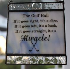 Golf Quote Miracle Suncatcher by GleamingColours on Etsy, $22.00