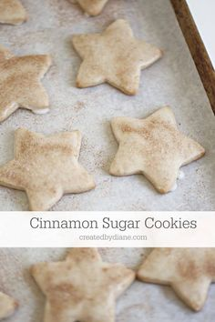 cinnamon sugar cookies these glazed cookies are not only topped with cinnamon and sugar, but the cookie themselves have a delicious cinnamon flavor. easy cut out cookies Chewy Sugar Cookie Recipe, Cinnamon Sugar Cookies, Cut Out Cookie Recipe, Lemon Sugar Cookies, Chocolate Sugar Cookies, Rolled Sugar Cookies, Cut Out Cookies, Star Cookies, Holiday Cookies