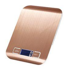 FlatLED Digital Kitchen Scale Multifunction Food Kitchen Scale Measurement Gram Scale 11lb 5kg Stainless Steel Batteries IncludedRose gold