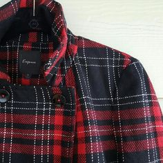 ✨HP✨ EXPRESS plaid winter coat Black red and white plaid pattern coat. Crop style. Button closures and pockets. Wore a few times but in great condition. 40% polyester 30% wool 20% acrylic 10% other fabrics Express Jackets & Coats