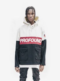 """Profound Aesthetic 3-Tone Pullover Parka Jacket in Cream/Black/Red  """"On the Streets I Ran"""" Fall 2015 Collection http://profoundco.com"""