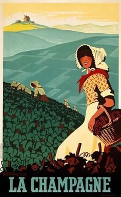 La Champagne by Senechal 1938 France - Beautiful Vintage Poster Reproductions. This vertical french wine #vintageposters