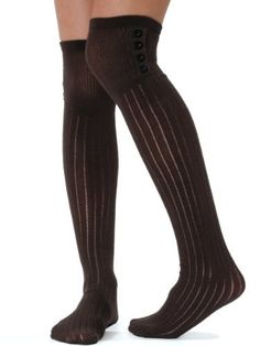 402488761 Womens Over The Knee Socks Button Ribbed 3 Color Options Black Navy or  Brown Color