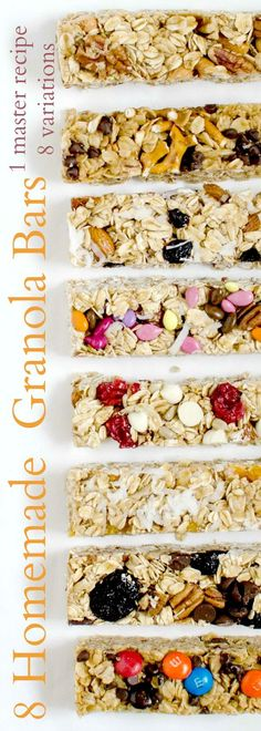 Healthy Snacks 8 Easy Homemade Granola Bar Recipes You Should Try TODAY - The base recipe for 8 easy homemade granola bar recipes that come together in a snap. Variations include peanut butter chocolate, spiced nut, and cranberry white chocolate. Granola Bar Recipe Easy, Granola Bar Recipes, Healthy Homemade Granola Bars, Homemade Energy Bars, Healthy Cereal Bars, Homemade Granola Recipe, Homemade Oatmeal Bars, Easy Oatmeal Bars, Quinoa Granola Bars