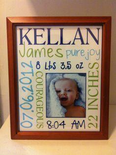 Custom newborn prints with frame- cute gift idea!