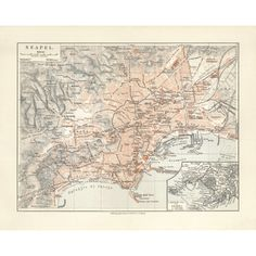 Naples - Napoli Vintage Map Reproduction. Handmade paper print. Old map of Naples.
