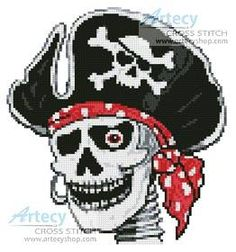 Pirate Skeleton cross stitch pattern. Or perler bead