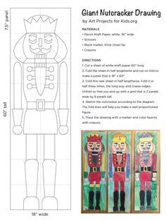 Giant Nutcracker Drawings. 5 ft. tall, butcher paper and crayons. PDF tutorial available. #nutcracker #collaborativeart
