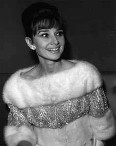 "Audrey Hepburn photographed by Pierluigi Praturlon during the gala of ""Le Bal des Petits Lits Blancs"" aboard the new liner ""France"" in Le Havre (France), on January 14, 1962."