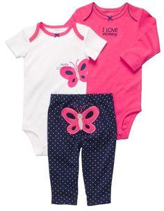 Carter`s Baby Girls 3-piece L/S Bodys...