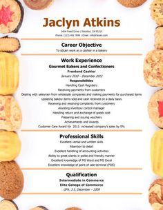 Career Building Bakery-Cashier-Resume