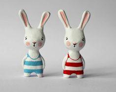 Stripey bunny #toy #ceramic #rabbit >> Adorable!