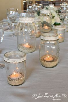 Flowers by Cabo Floral Studio! Mason Jar Crafts, Bottle Crafts, Mason Jars, Diy Candles, Candle Jars, Candle Holders, Vasos Vintage, Diwali Craft, Jar Centerpieces