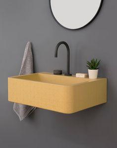 Kast Launches Collection of Patterned Concrete Basins Called Kast Canvas - Design Milk Gelbes Badezimmer Bathroom Basin, Bathroom Fixtures, Bathroom Vanities, Modern Bathroom Sink, Marble Bathrooms, Minimal Bathroom, Boho Bathroom, Luxury Bathrooms, Master Bathrooms