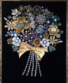 Vintage & Costume Jewelry OOAK Framed Rhinestone Flower Bouquet Art - Vintage & Costume Jewelry OOAK Framed by NotTooShabbyDesignCo - Costume Jewelry Crafts, Vintage Jewelry Crafts, Vintage Costume Jewelry, Vintage Costumes, Recycled Jewelry, Jewelry Frames, Jewelry Tree, Tiffany Jewelry, Brooch Display