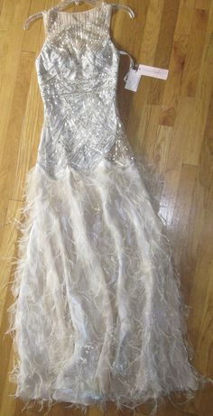 Sz 4 * Sue Wong Feather Gown Dress Wedding Bridal Prom Champagne & Silver GATSBY  | eBay