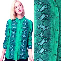 4709d428d68a5d EQUIPMENT Brett Shirt Diamondback Python Snake Print Signature Blouse Silk  Green