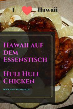 Das Huli-Huli Chicken ist wohl das berühmteste Hähnchen aus Hawaii, mal abgesehen von Heihei von Moana. Aber das Huli Huli Chicken ist zum Essen da und es wird Deine Art Hähnchen zu marinieren verändern. Denn mit diesem Rezept bekommst Du nicht nur ein Stück Hawaii auf Deinen Teller, sondern auch noch eines der leckersten Wege Hähnchen zu essen.  #TraumHawaii #hulihulichicken #hawaiianischkochen Hawaiian Bbq, Hawaiian Chicken, Lemon Chicken, Bbq Chicken, Chicken Recipes, Hawaiian Quotes, Hawaiian Recipes, Huli Huli Chicken, Beste Hotels