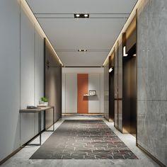 Hotel Hallway, Hotel Corridor, Corridor Design, Hall Design, Elevator Lobby Design, Small Office Design, Corridor Lighting, Hotel Lounge, Lobby Interior