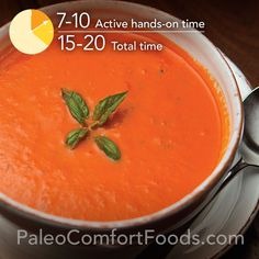 A super quick and easy creamy (but dairy-free) Paleo tomato soup.