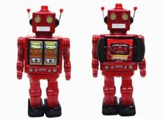 tin toys wind up metal 80s nostalgic toy red body twisting robot(import from Hong Kong):Amazon:Toys & Games