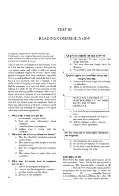 Reading Comprehension Activities, Reading Passages, English Test, English Lessons, English Grammar Worksheets, Buy Computer, English Reading, Reading Skills, Texts