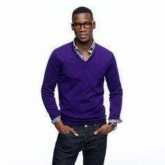 Slim merino V-neck sweater Purple