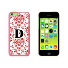 Letter D Initial Damask Elegant Red Black White Case for Apple iPhone 5C, Pink #iphone5c,