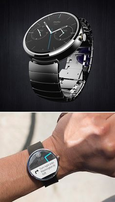 "Motorola Moto 360 - A normal, good looking ""Android Wear""-powered watch that subtly delivers notifications  alerts and also features voice-activated functions like Google searches, scheduling appointments and setting alarms. Available Summer 2014. 