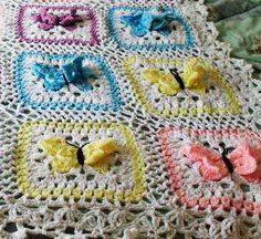 3-D Butterflies Granny Square: free #crochet diagram/chart