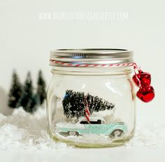 Vintage car in a mason jar snow globe kit includes all materials and detailed instructions to make your very own liquid-less snow globe. This